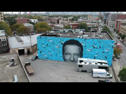 A Giant Mural commemorating the life and art of actor Robin Williams
