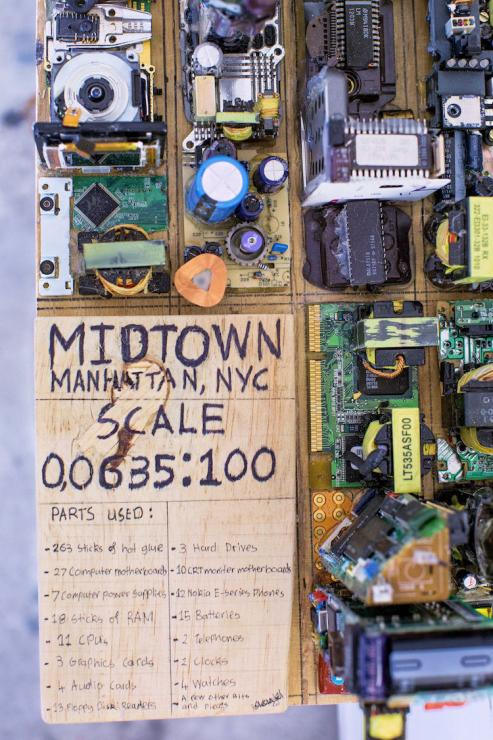 Model of Manhattan from recycled computer parts