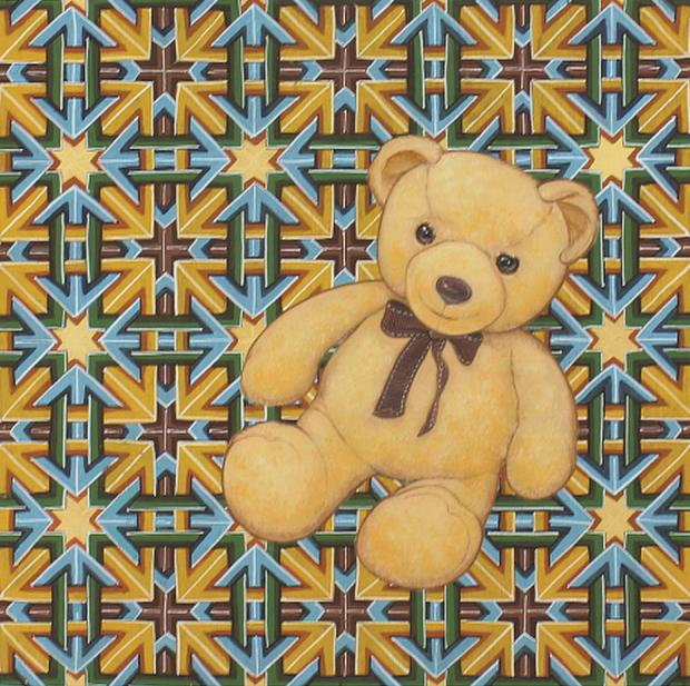a teddy bear on double square pattern